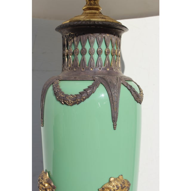 Mid 19th Century Mid 19th Century Green English Gilt Bronze Lamp For Sale - Image 5 of 11
