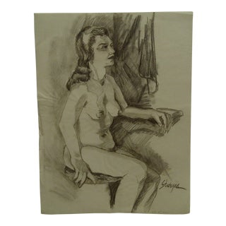 """1950 Mid-Century Modern Original Drawing on Paper, """"Sitting Side-Saddle Nude"""" by Tom Sturges Jr. For Sale"""
