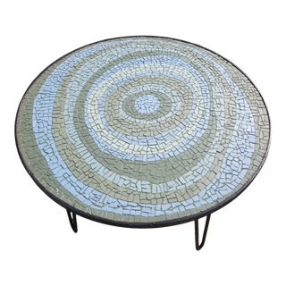 Mid-Century Modern Mosaic Tile Side Table with Turquoise and Blue Circular Eye Pattern For Sale