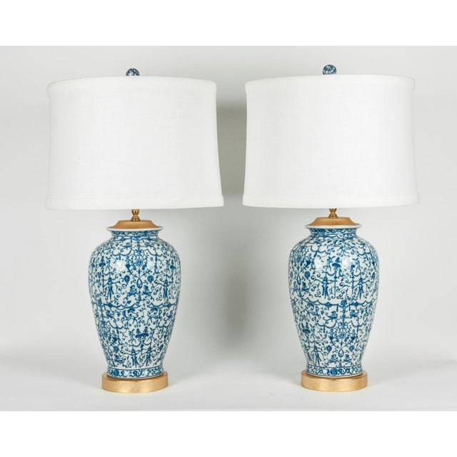 Porcelain With Wooden Base Gold-Plated Task Table Lamps - a Pair For Sale - Image 10 of 11