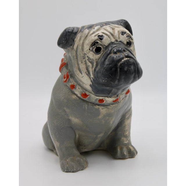 1930s Chalkware Carnival Prize Bulldog Statue For Sale - Image 9 of 12