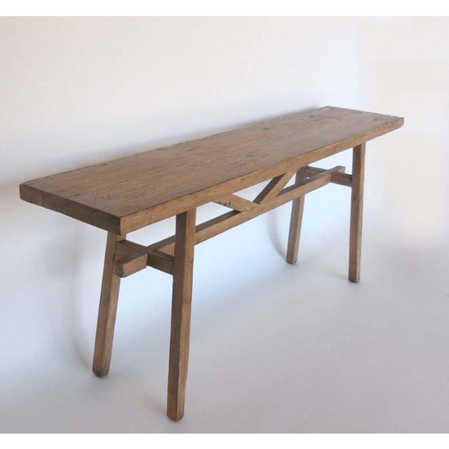 Reclaimed Wood Console with High Stretcher - Image 8 of 8