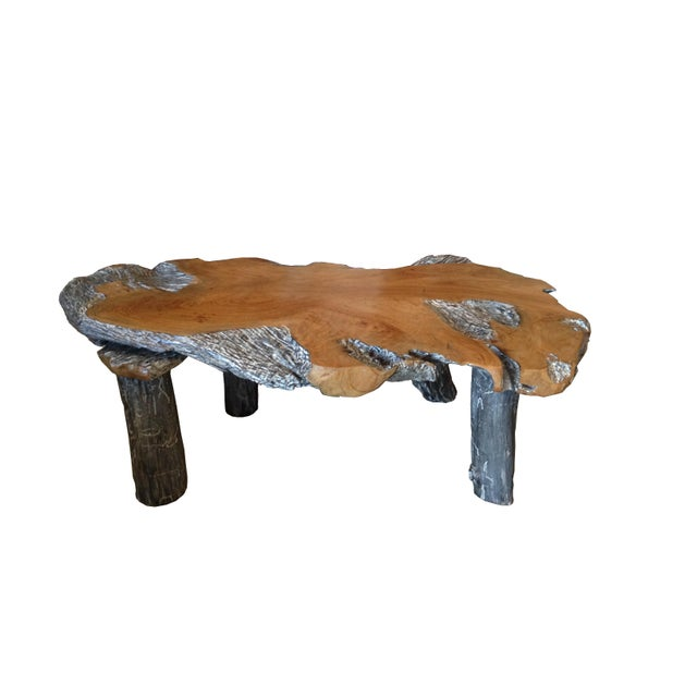 Vintage Rustic Free Edge Coffee Table Natural Wood Slab: Rustic Natural Edge Teak Slab Coffee Table