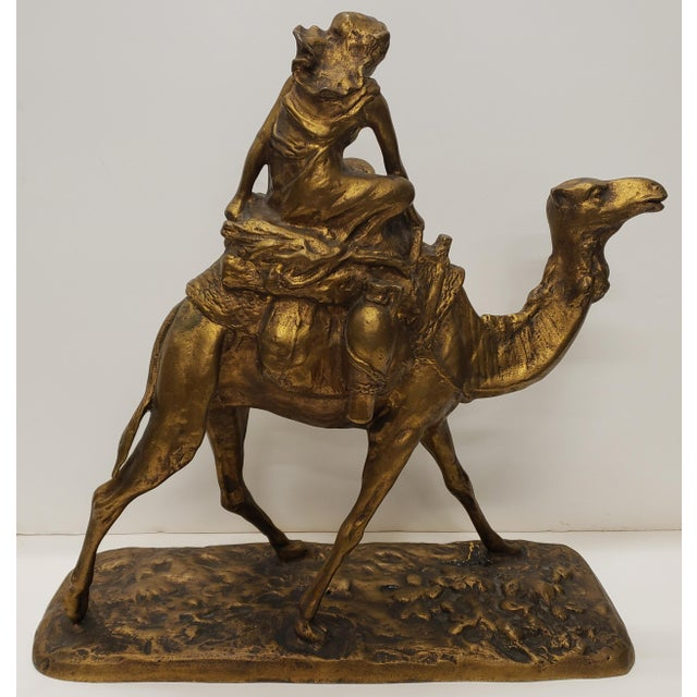 Late 19th Century French Gilt Bronze Bedouin Camel Rider Sculpture For Sale - Image 4 of 7