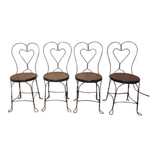 1950s Traditional Ice Cream Parlor Heart Shaped Wire Frame Chairs - Set of 4