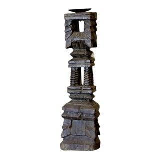 Carved Kerala Candleholder For Sale