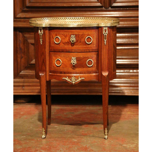 19th Century French Louis XV Walnut Commode Nightstand Chest With Marble Top For Sale - Image 10 of 10