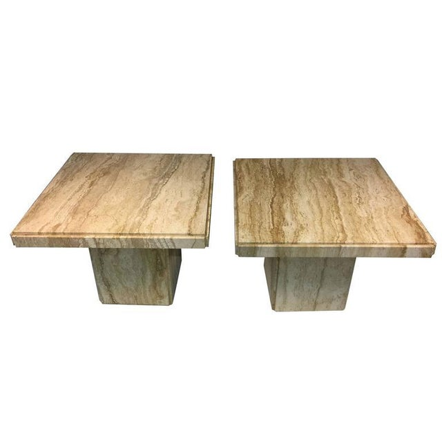 EXCEPTIONAL PAIR OF ITALIAN END OR SIDE TABLES IN BEAUTIFUL TRAVERTINE For Sale - Image 4 of 4