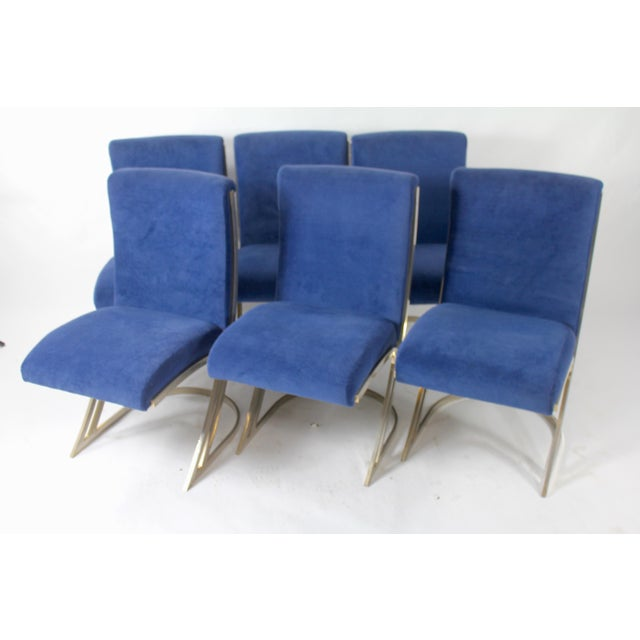 1960s Vintage Blue Velvet & Chrome Mid-Century Modern Dining Chairs - Set of 6 For Sale - Image 5 of 5