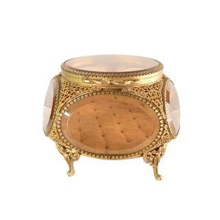 Brass Filigree Ormolu Jewelry Casket For Sale