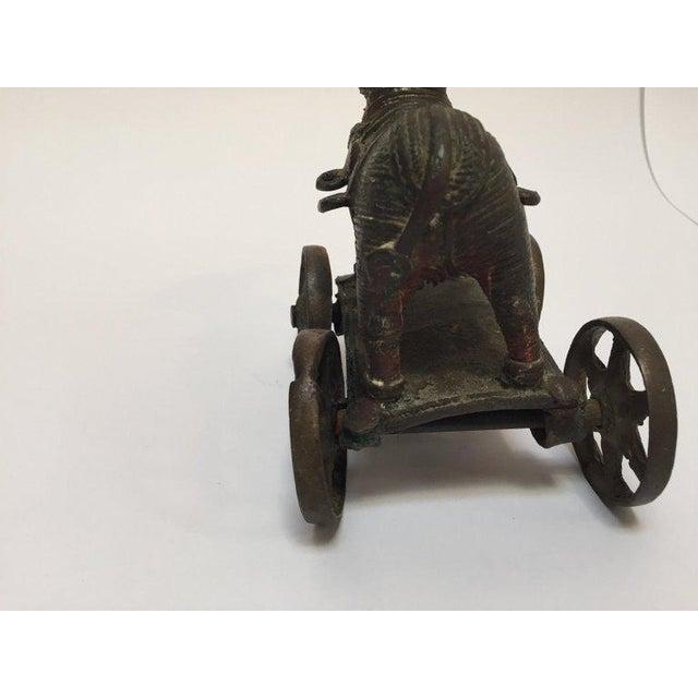 Primitive Antique Cast Bronze Temple Toy Elephant on Wheels India For Sale - Image 3 of 13