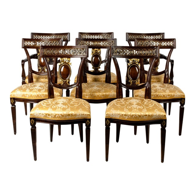 Mid Century European Mahogany Wood Dining Chairs - Set of 8 For Sale