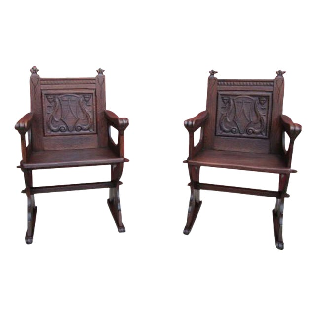 French Antique Gothic Chairs - A Pair - French Antique Gothic Chairs - A Pair Chairish