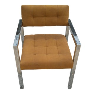 1960s Mid Century Modern Patrician Furniture Chrome Band Chair For Sale