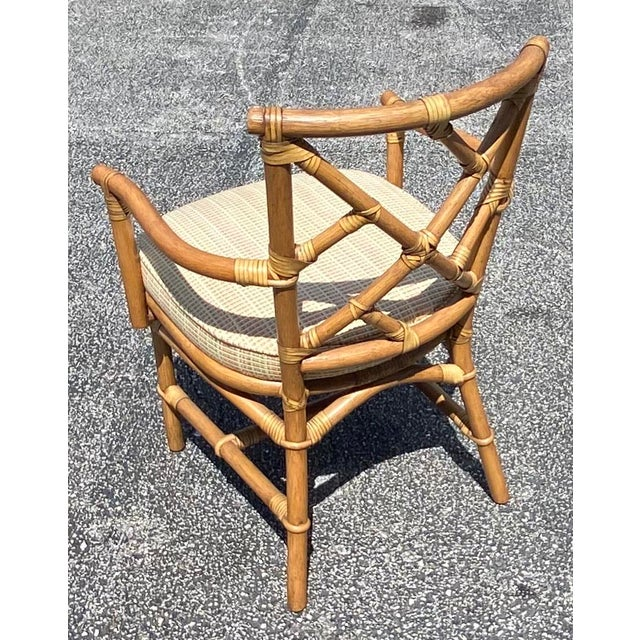 Ficks Reed Vintage Coastal Ficks Reed Chinese Chippendale Bamboo Dining Chairs - Set of 8 For Sale - Image 4 of 13