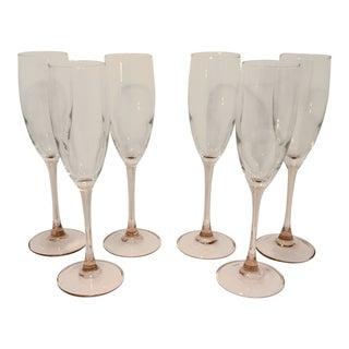 1980s Vintage Cristal D'Arques Pink Stem Flute Champagne Glasses - Set of 6 For Sale
