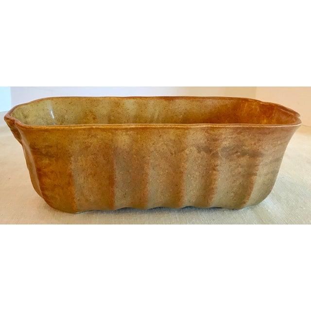 Mid 20th Century Vintage Gold and Orange Two Tone Ribbed Planter For Sale - Image 5 of 8