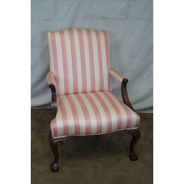 Chippendale style ball & claw foot library arm chair. High quality, solid mahogany frame, open arm chair w/ claw feet....