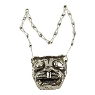 Guy Laroche Paris Chrome Pendant Necklace Lion Head Medallion For Sale