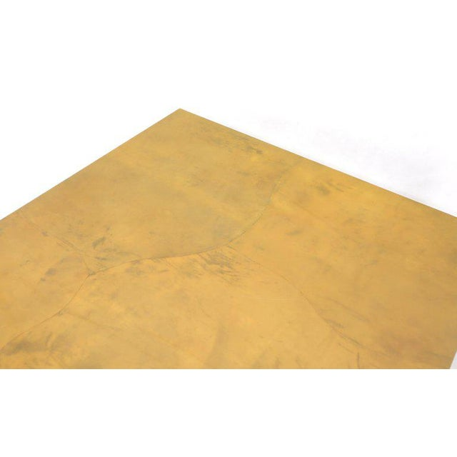 Mid-Century Modern Lacqured Goat Skin Parchment Square Flip Top Dining Table For Sale - Image 3 of 13