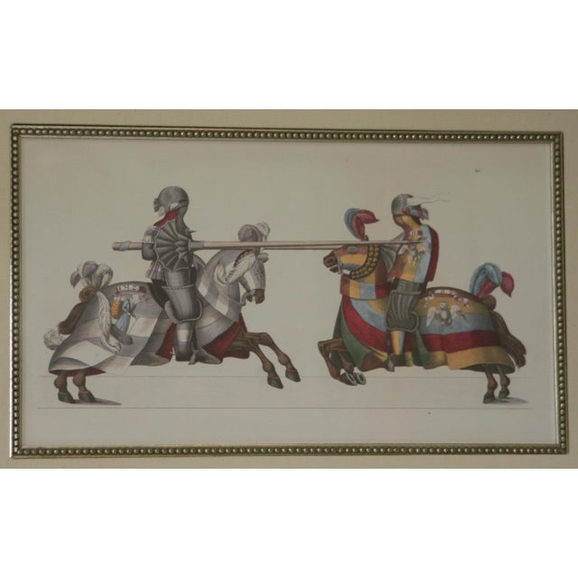 Asian Jousting Knights Framed Ink Watercolor Giclee Print For Sale - Image 3 of 6