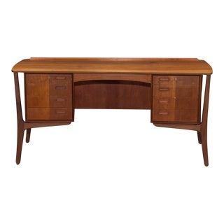 Danish Modern Teak Curved Desk For Sale