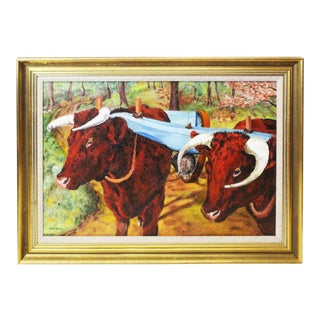 Ede-Else Oxen Oil Painting on Canvas For Sale