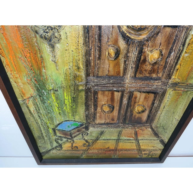 Brown Original Mid-Century Gothic Painting on Board by Van Hoople For Sale - Image 8 of 13