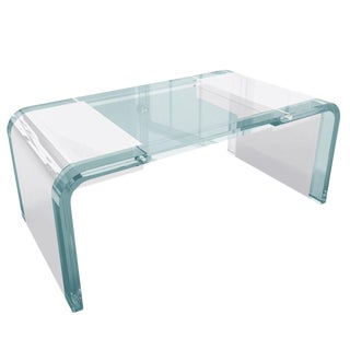 """Charles Hollis Jones Lucite and Chrome """"Waterfall"""" Desk For Sale"""