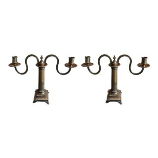 One Pair of Elegant English Regency Two-arm Candelabra For Sale