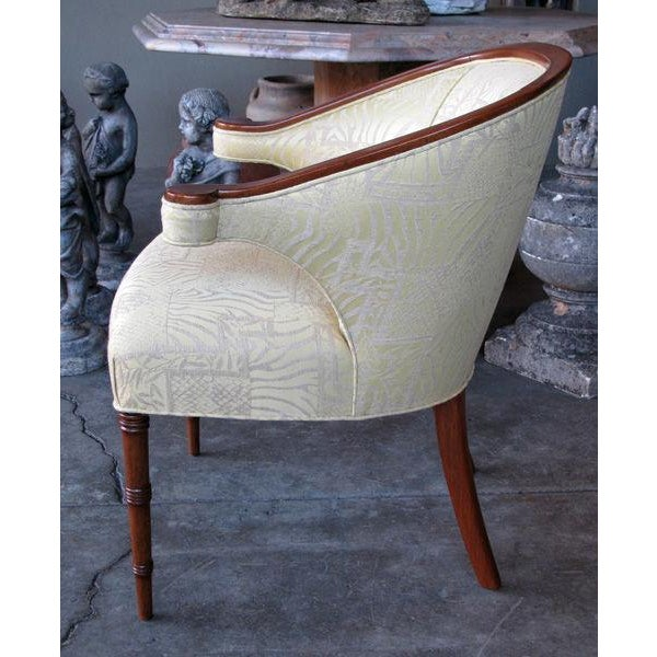 Hollywood Regency A Shapely Pair of English Regency-Inspired Mahogany Salon Chairs For Sale - Image 3 of 6
