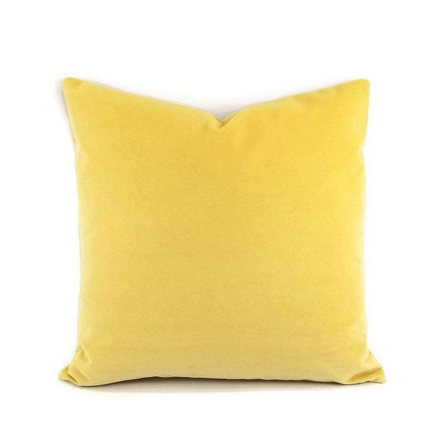 """Fabric Solid Yellow Velvet Pillow Cover - 20"""" X 20"""" For Sale - Image 7 of 7"""
