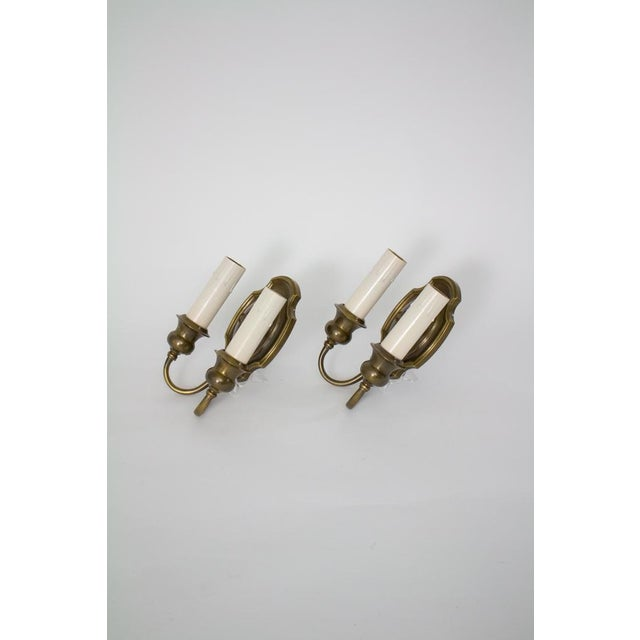Traditional 1920's Traditional Double Arm Brass Sconces - a Pair For Sale - Image 3 of 5