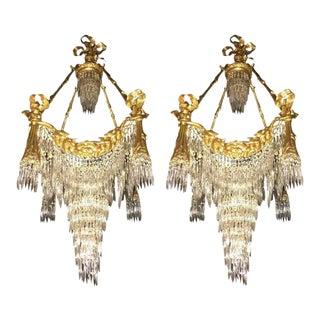 Bronze Louis XVI Style Crystal Ribbon & Tassel Drapery Chandeliers - A Pair