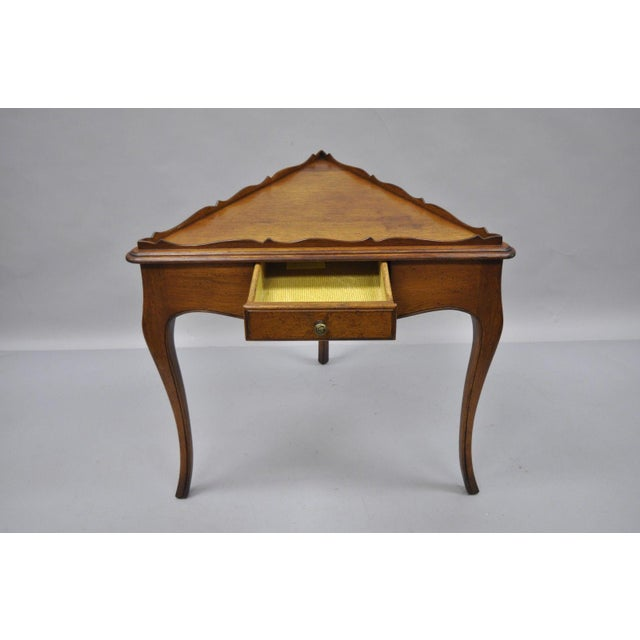 French Country French Louis Triangle Side Table For Sale - Image 3 of 10