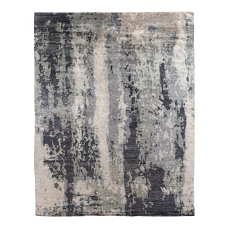 Dartford Hand-knotted Bamboo/SilkBlue/Gray Rug - 6'x9' For Sale