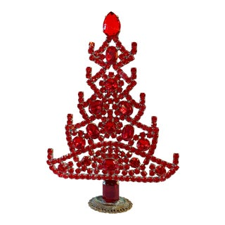 Ruby Red Czech Rhinestone Christmas Tree For Sale