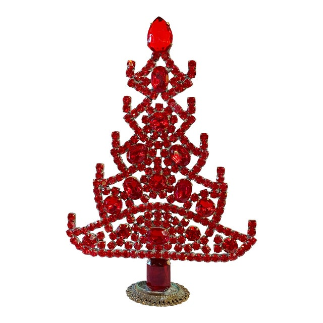Ruby Red Czech Rhinestone Christmas Tree For Sale
