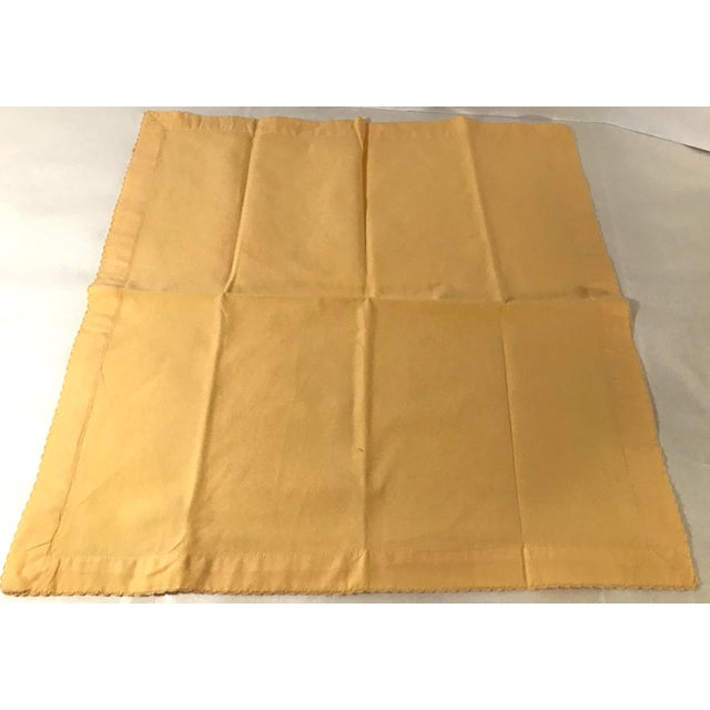 Mid-Century Modern Vintage Yellow Dinner Napkins - Set of 4 For Sale - Image 3 of 8