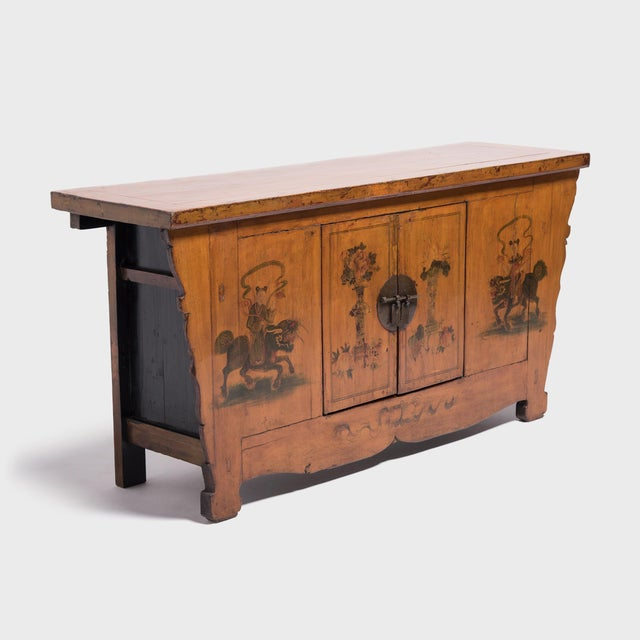 Wood Qilin Painted Coffer For Sale - Image 7 of 10