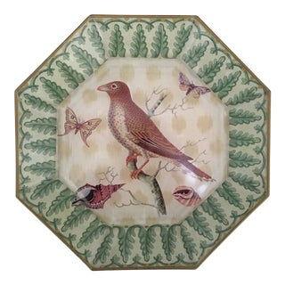 1990s Art Deco Octagonal Decoupage Plate of Bird in Tree