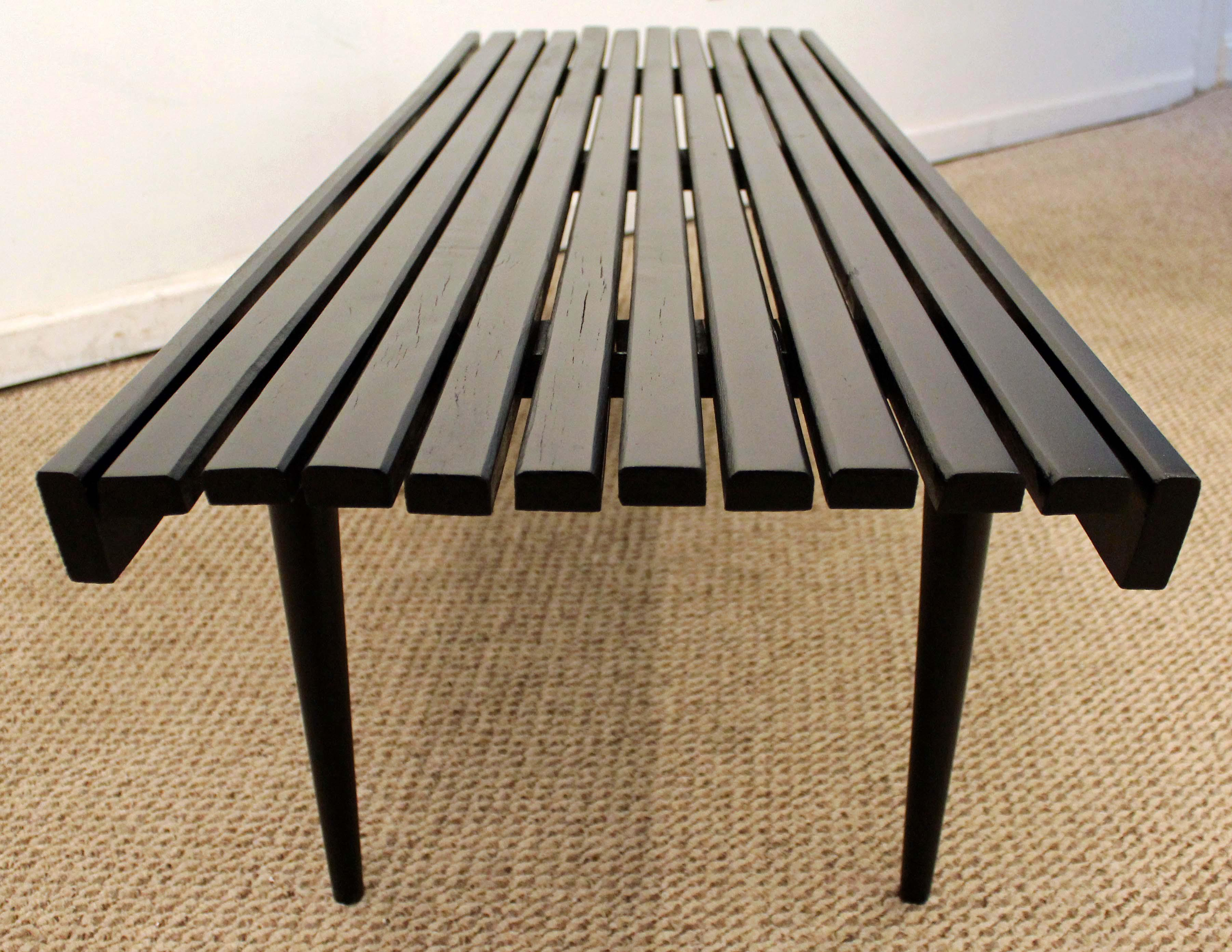 Danish Modern Mid Century Danish Modern Ebonized Walnut Slat Bench Coffee  Table For Sale