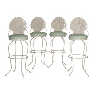 Grotto Shell Back Swivel Bar Stools - Set of 4 For Sale