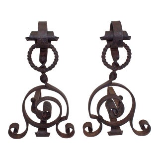 Early 20th Century Large Hand Wrought Iron Andirons With Scroll and Ring Motifs With Chain - a Pair For Sale