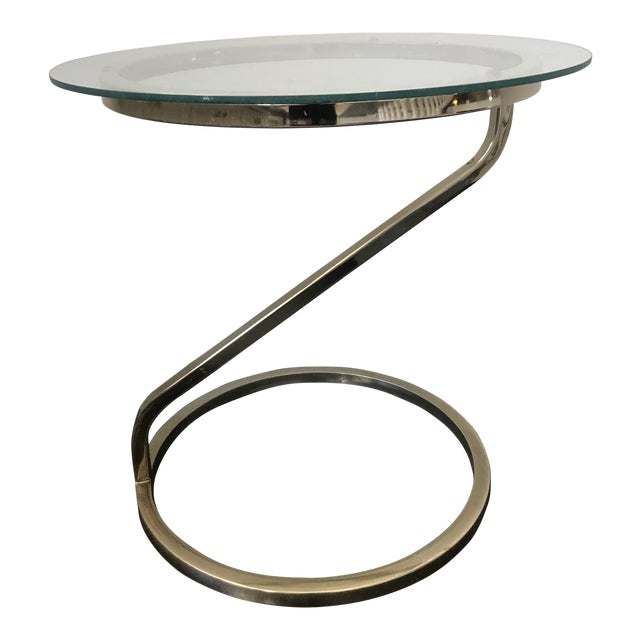 1970s Mid Century Modern Glass and Gold Side Table For Sale