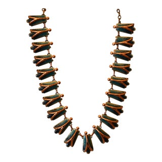 Vintage Matisse Costume Green Enamel With Copper Necklace, 1960s For Sale