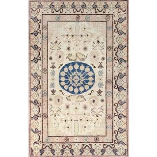 Mid 19th Century Handwoven Khotan Wool Rug For Sale