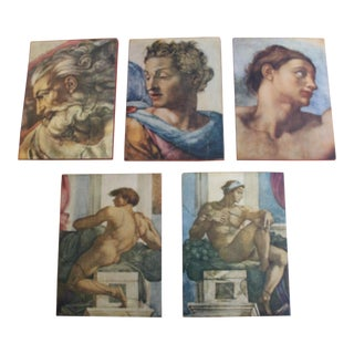 1960s Wood Mount Art Prints From Italy - Set of 5 For Sale