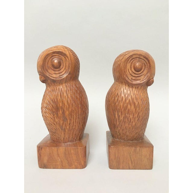 Boho Chic Hand Carved Wood Owl Bookends - a Pair For Sale - Image 3 of 7