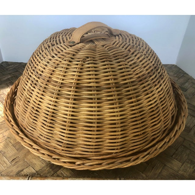 Large French Cloche Cheese Bell in Natural Woven Wicker Rattan With Leather Handle For Sale - Image 13 of 13